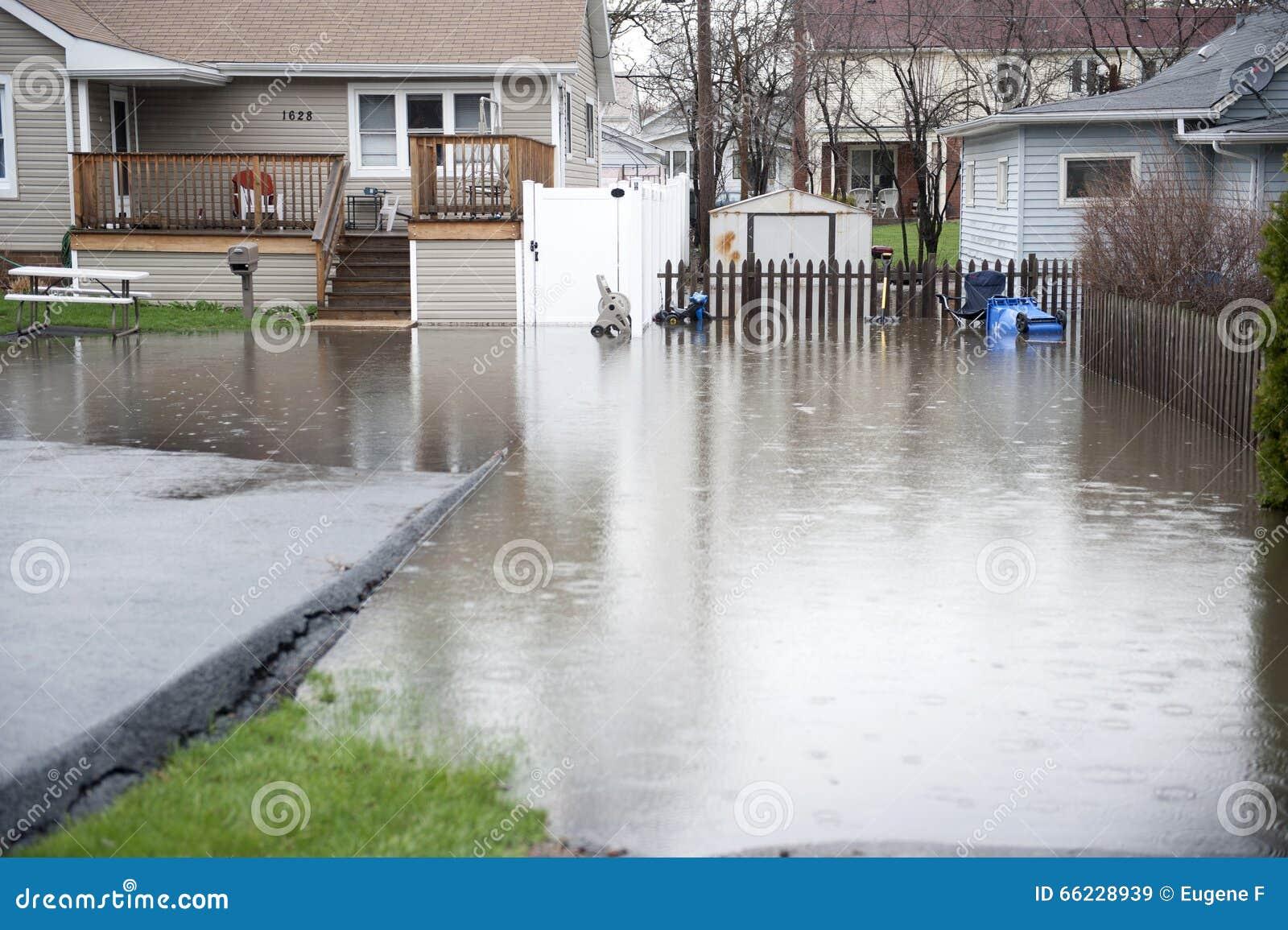 Flooded backyard outdoors stock image image of damage for Yard flooding problems