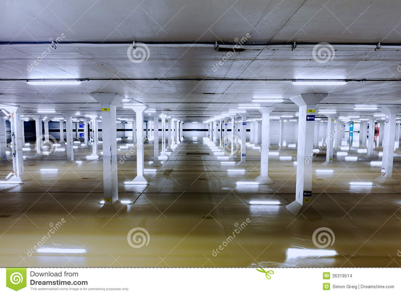 Flooded car garage columns stock photo image of exposure for Garage column wrap