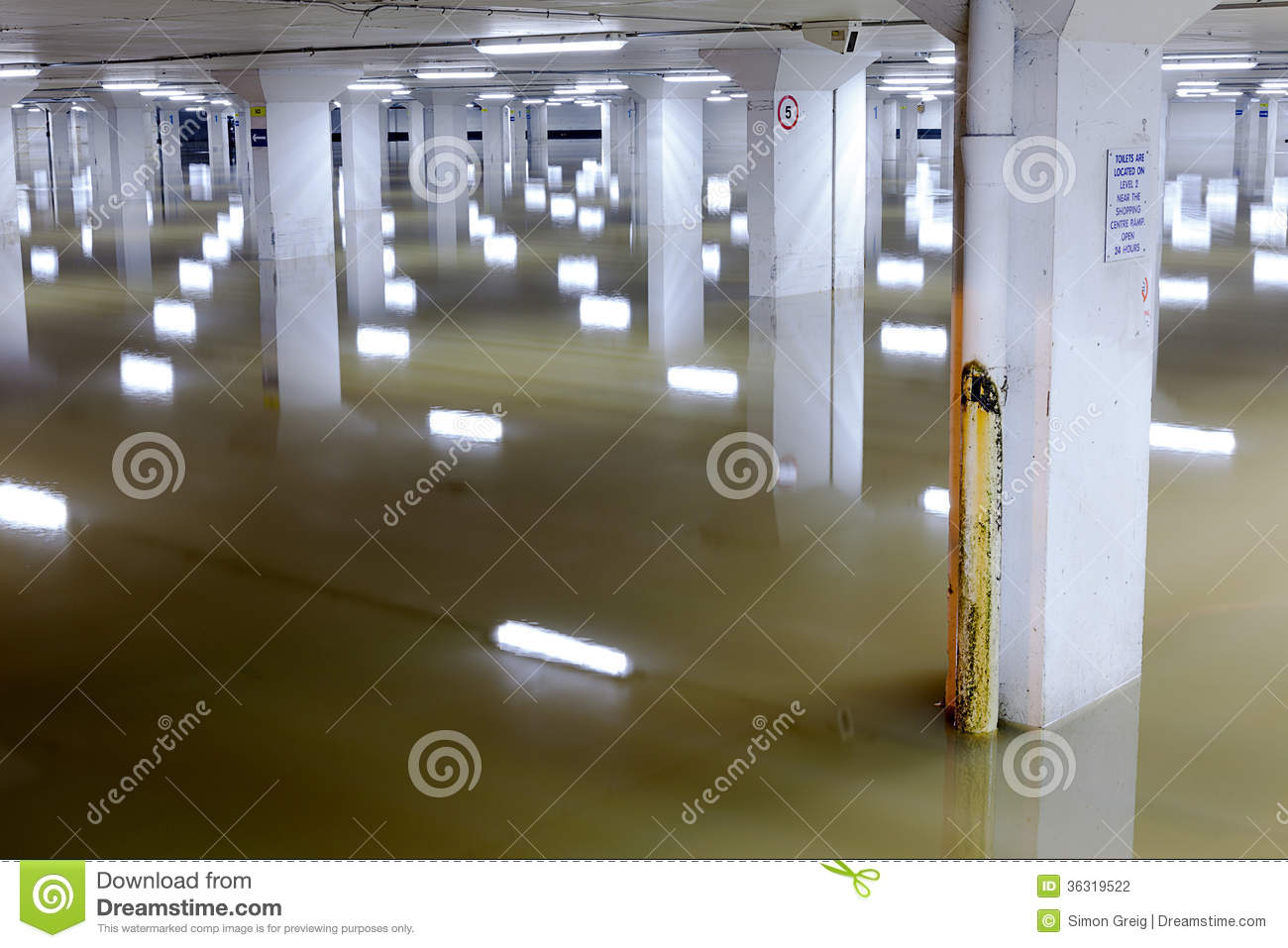 Flooded Car Garage Columns Pattern Stock Photography