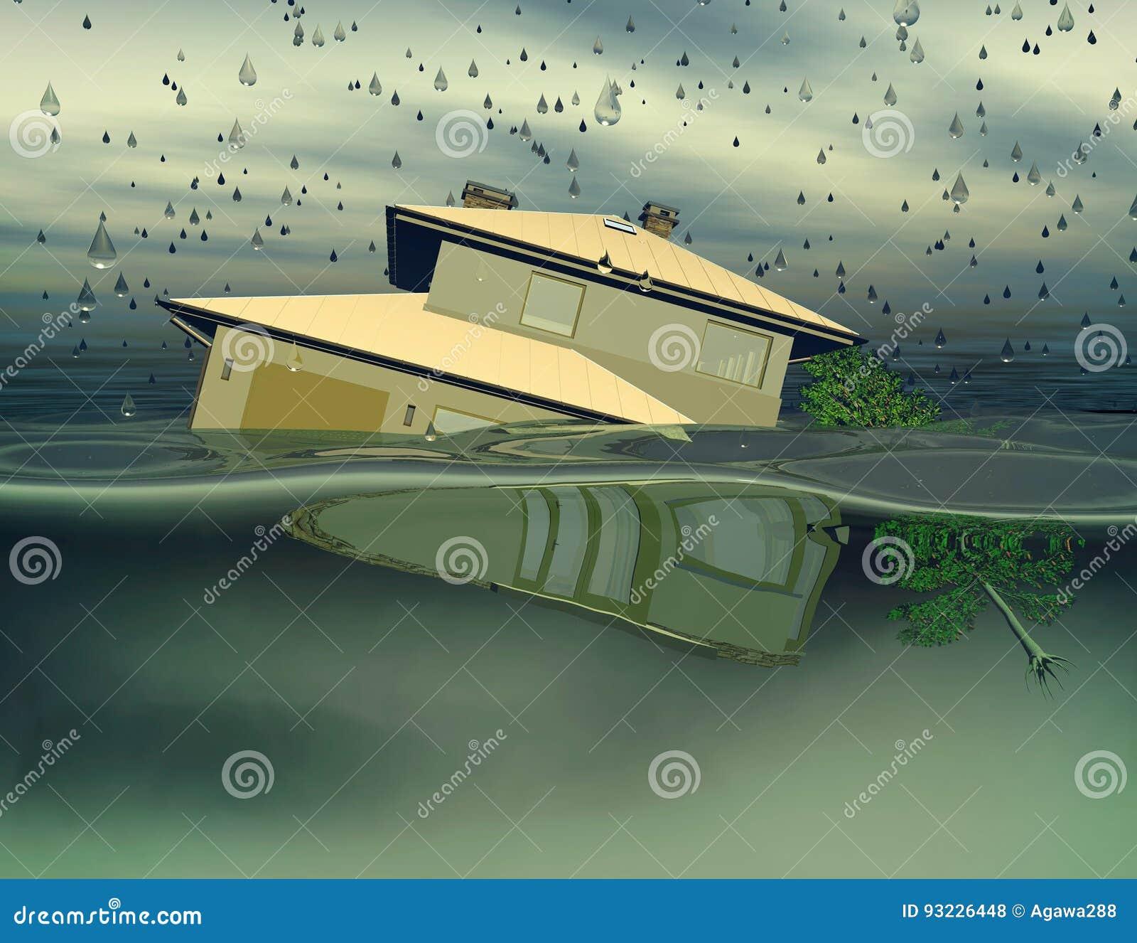 Flooded house under water 3D illustration.