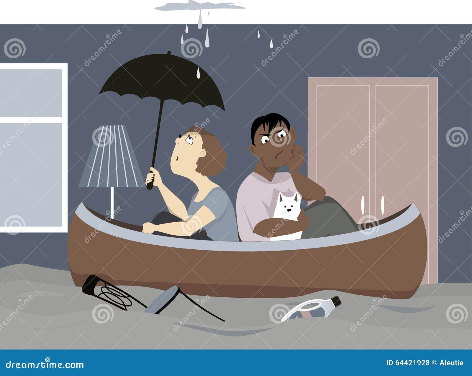 Flooded House Stock Vector Illustration Of Illustration