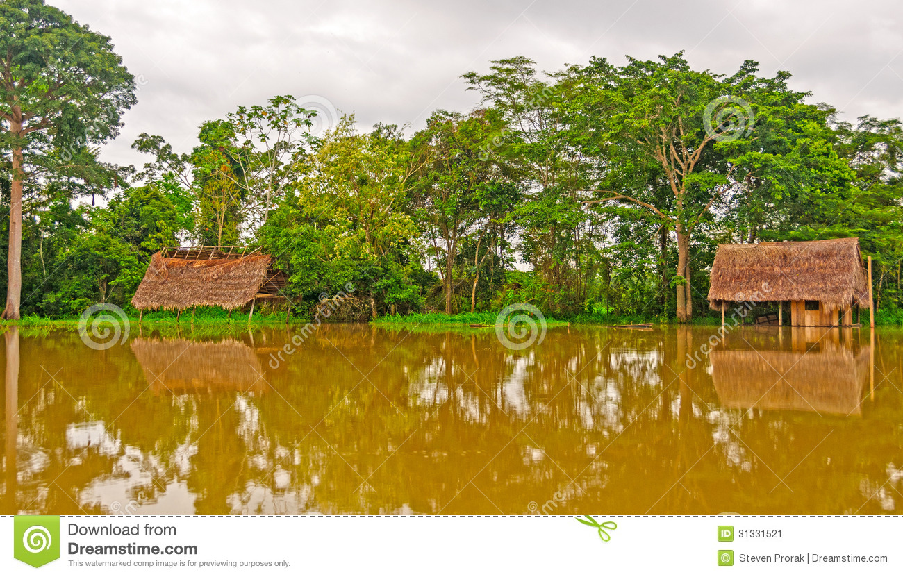 Flooded houses during high water