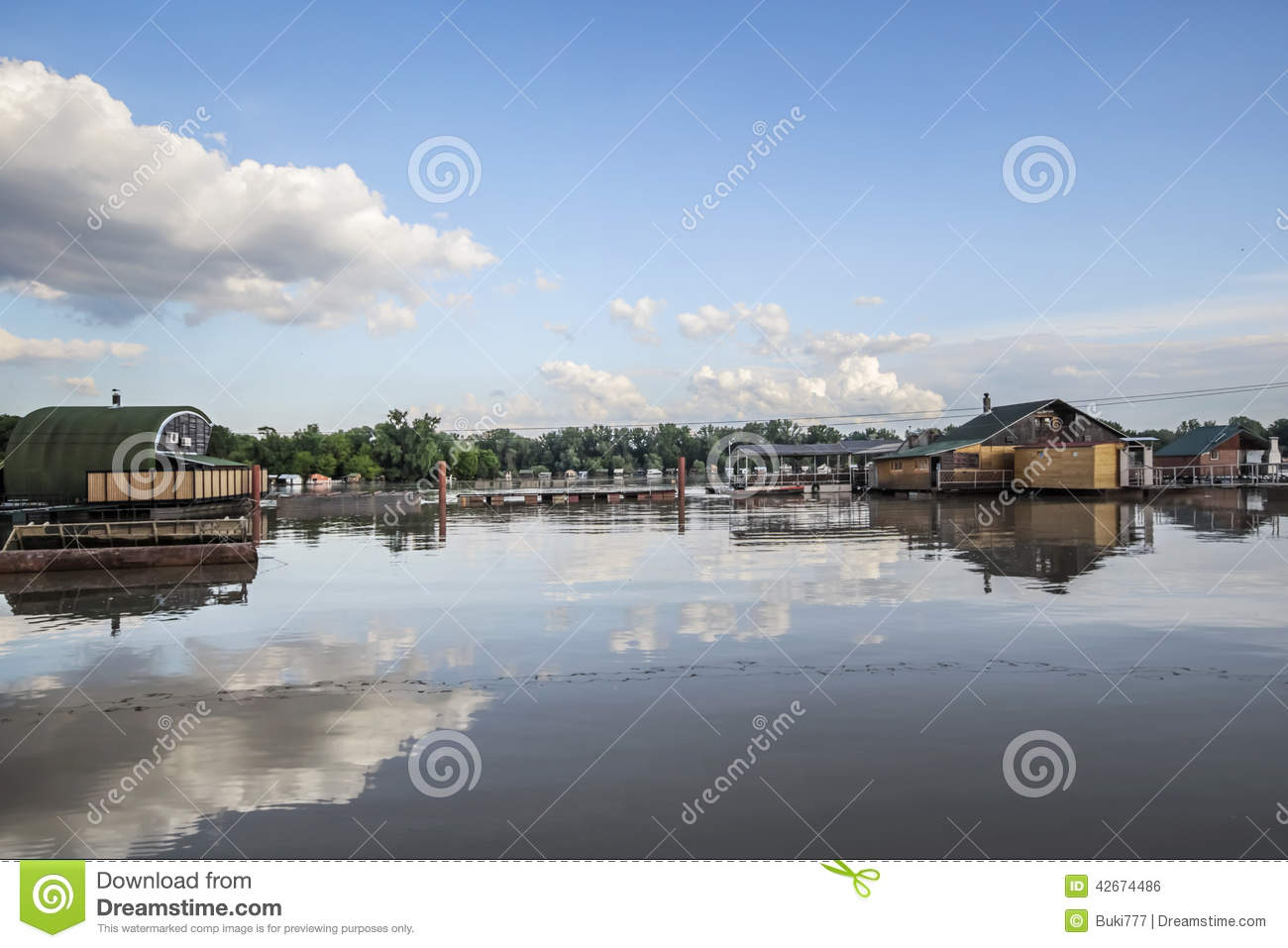 Flooded Land With Floating Houses At Sava River - New