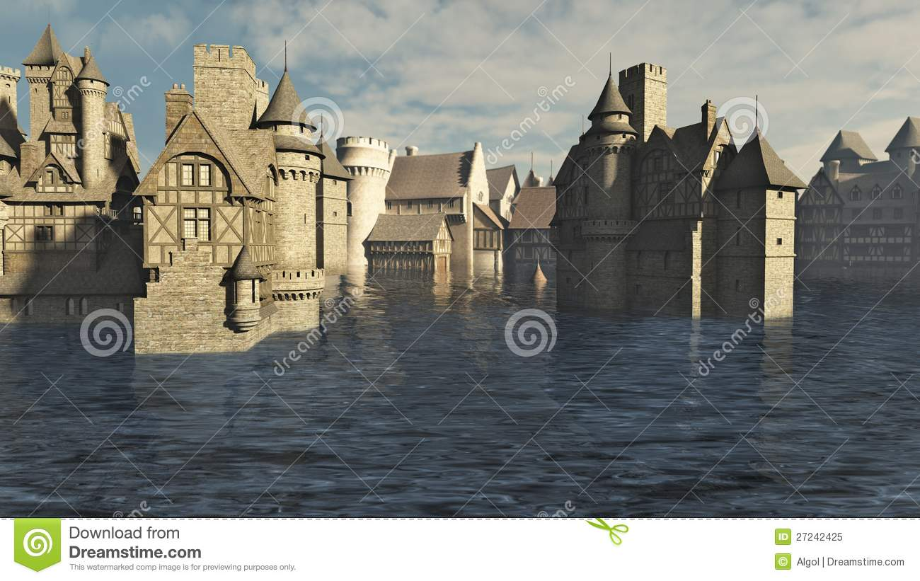Flooded Medieval Town Royalty Free Stock Photo - Image ...