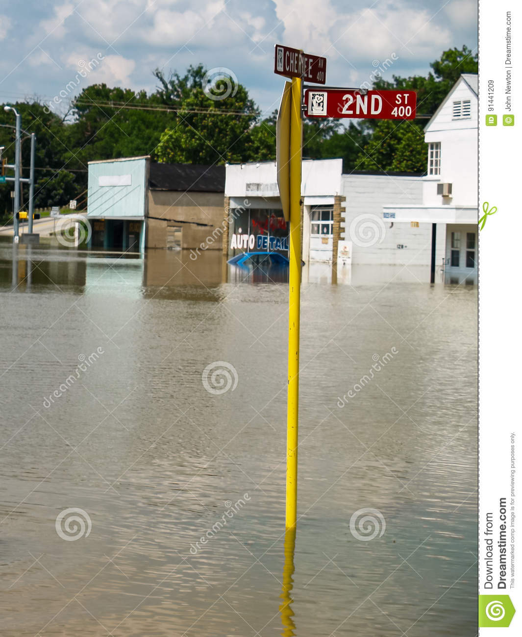 flooded small town business street stock image image of river