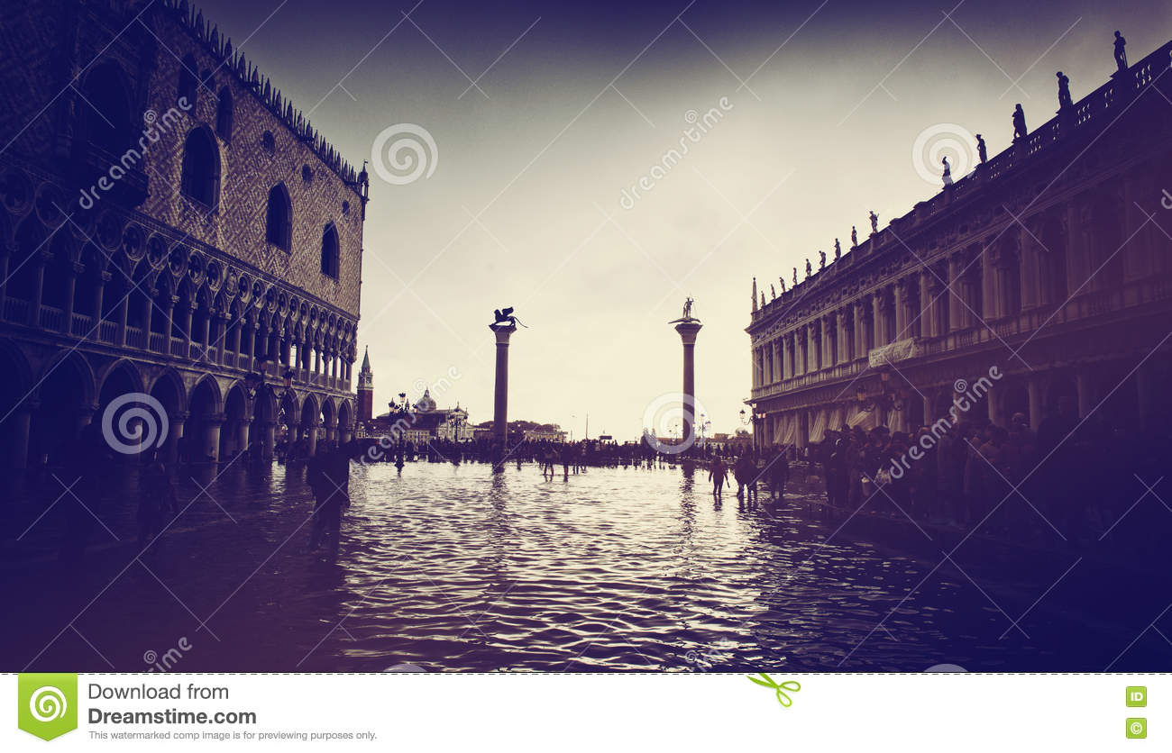 Flooded St. Marks Square in Venice, Italy.
