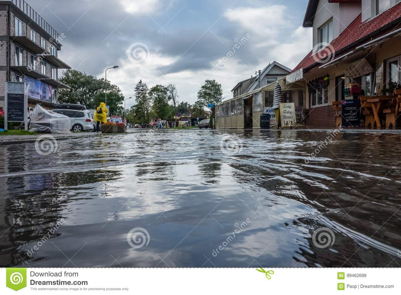 Flooded street after torrential rain