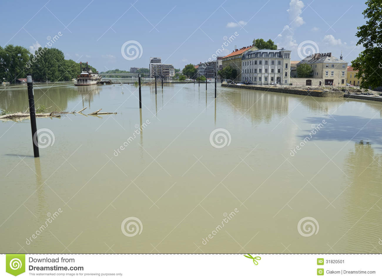 Flooding Danube River In Gyor Downtown Stock Image Image