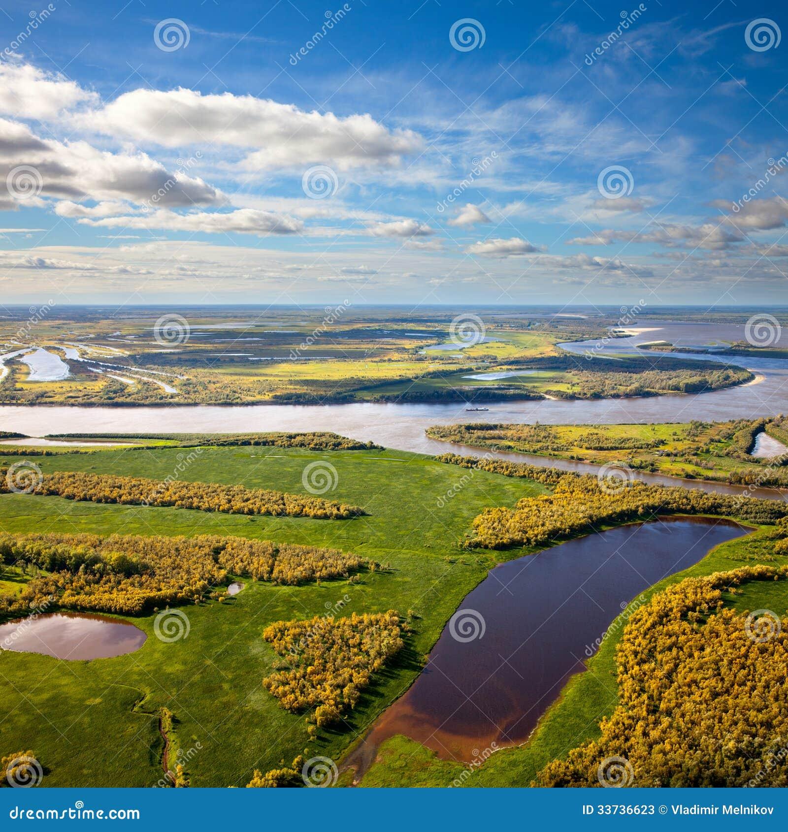 Река Floodland большое в осени