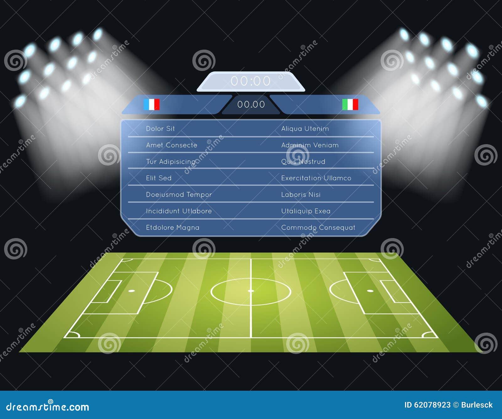 floodlighting soccer field with scoreboard stock vector