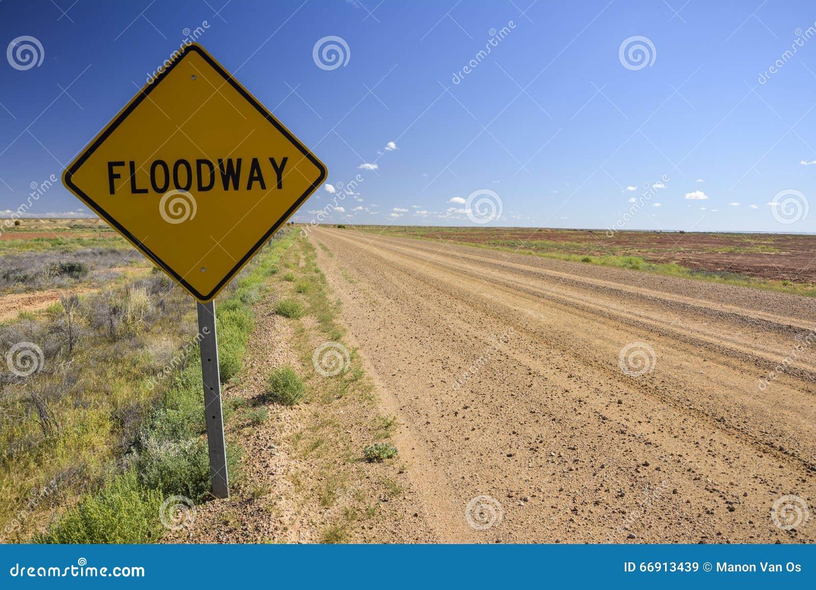 Floodway unterzeichnen herein das australische Hinterland