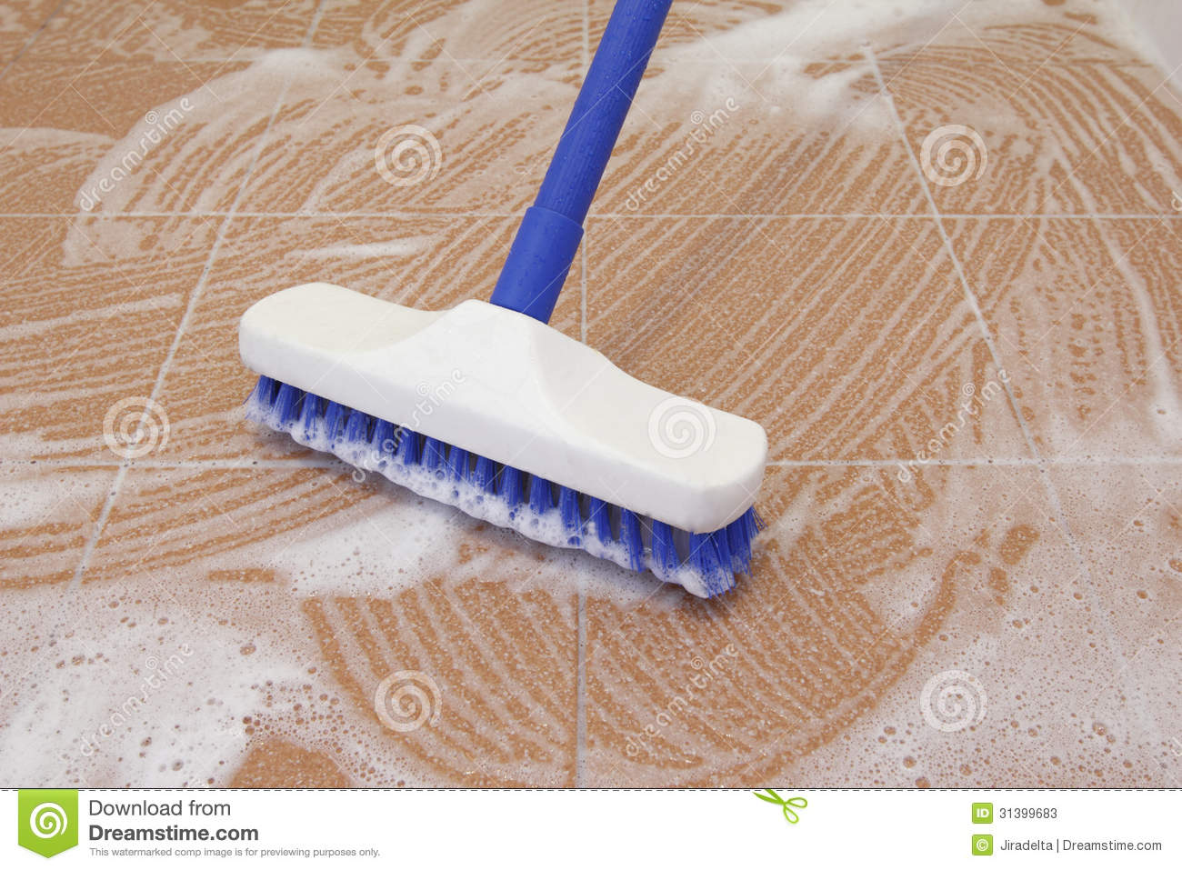 Floor brush cleaning stock image image of toilet for Plancher sur carrelage
