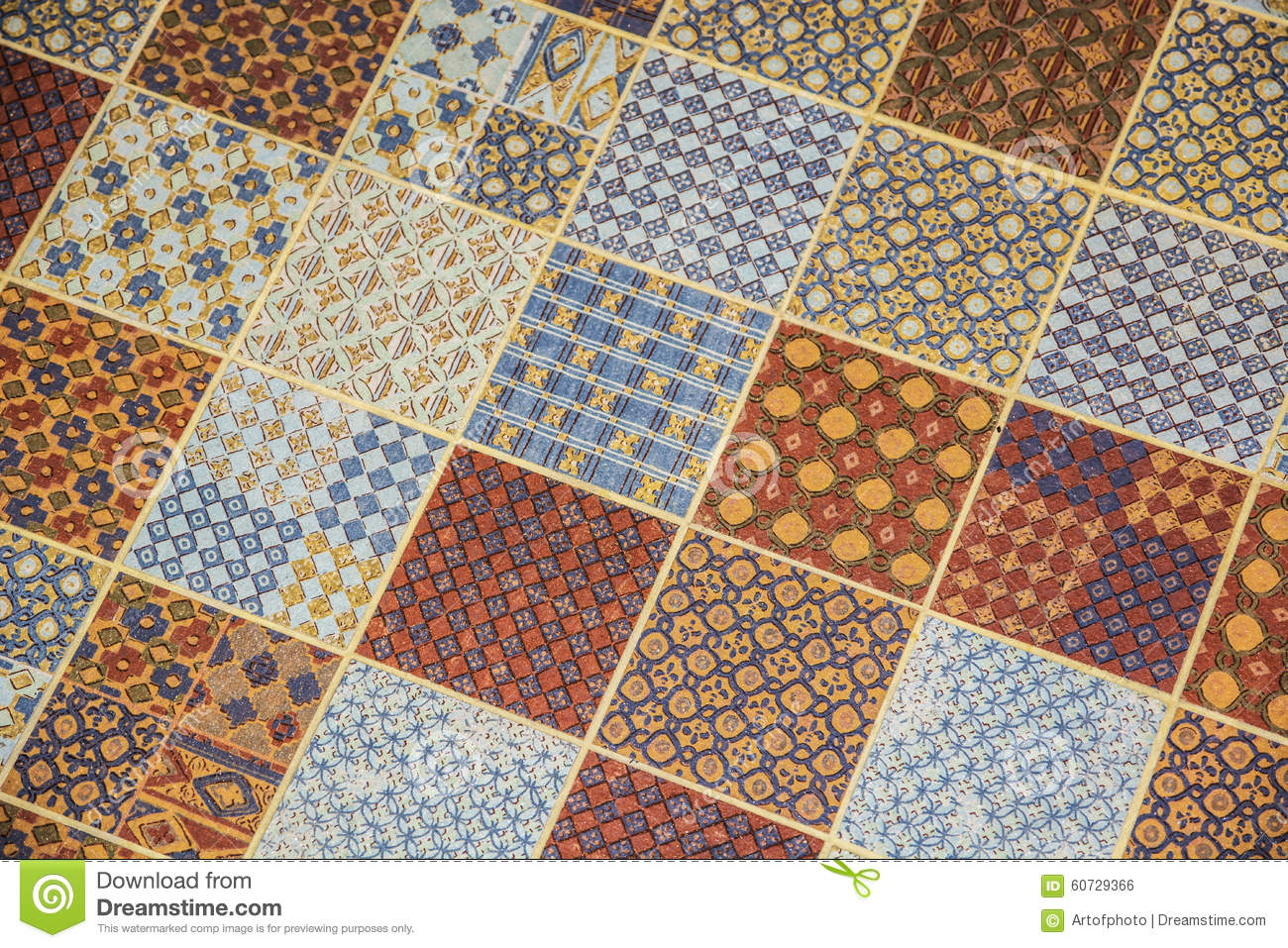 Tiled or linoleum floor covering with repeating square for Colourful lino flooring