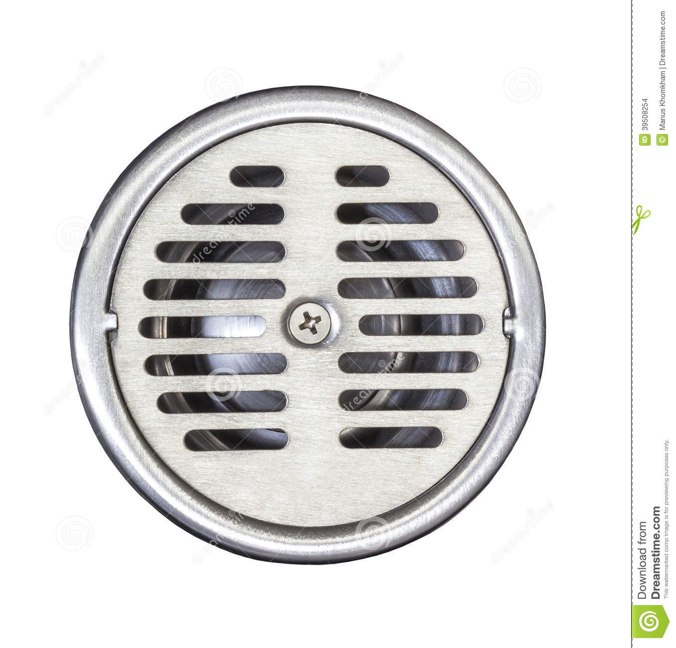 Floor drain on white