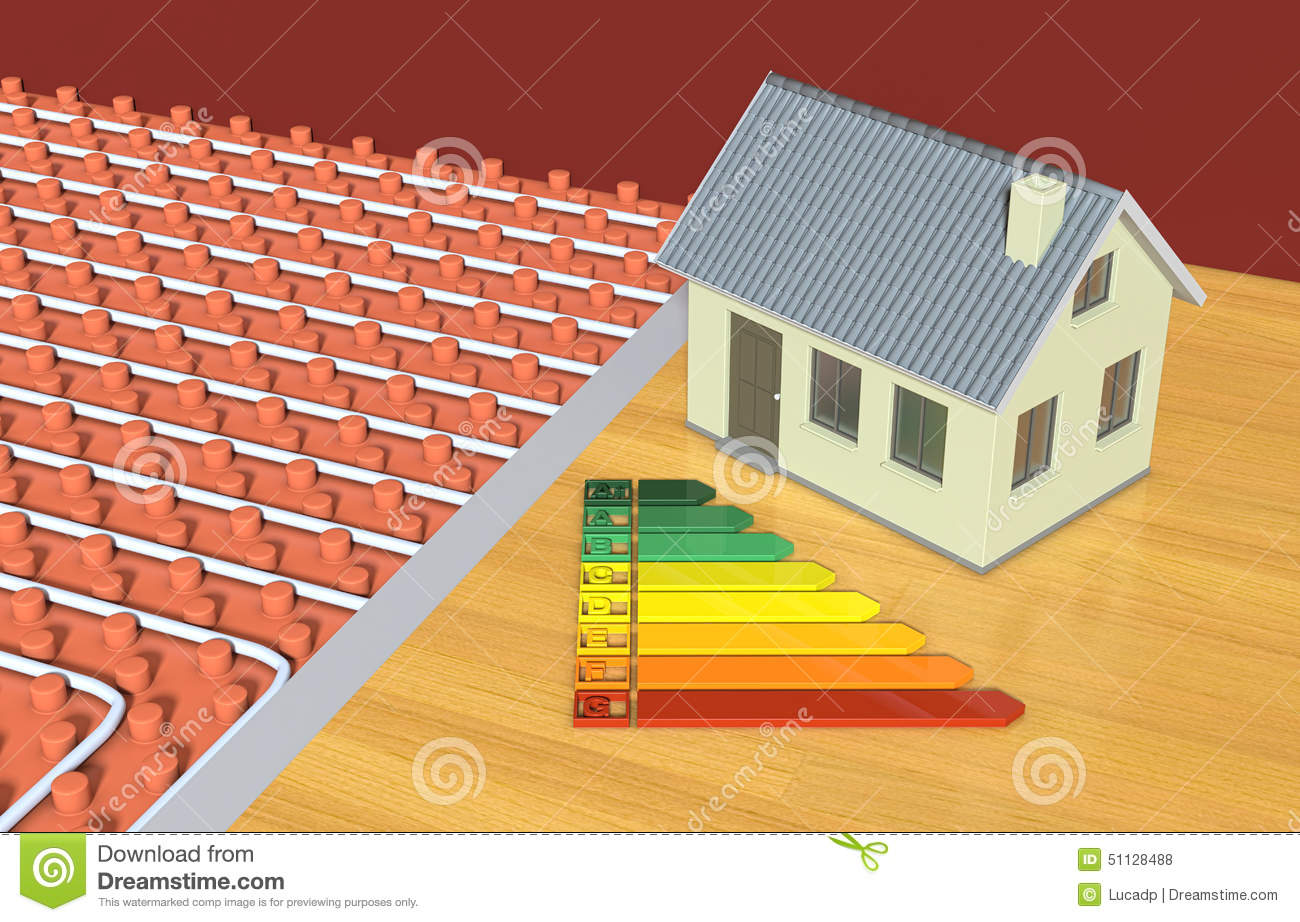 Close up view of a floor heating system with a small house and an  #B68D15