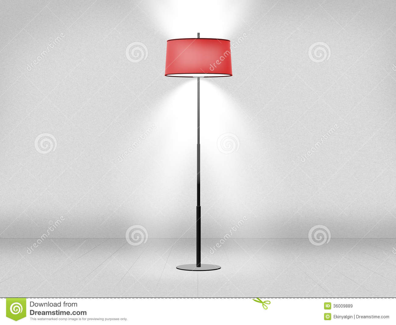 Floor lamp against blank empty white wall.