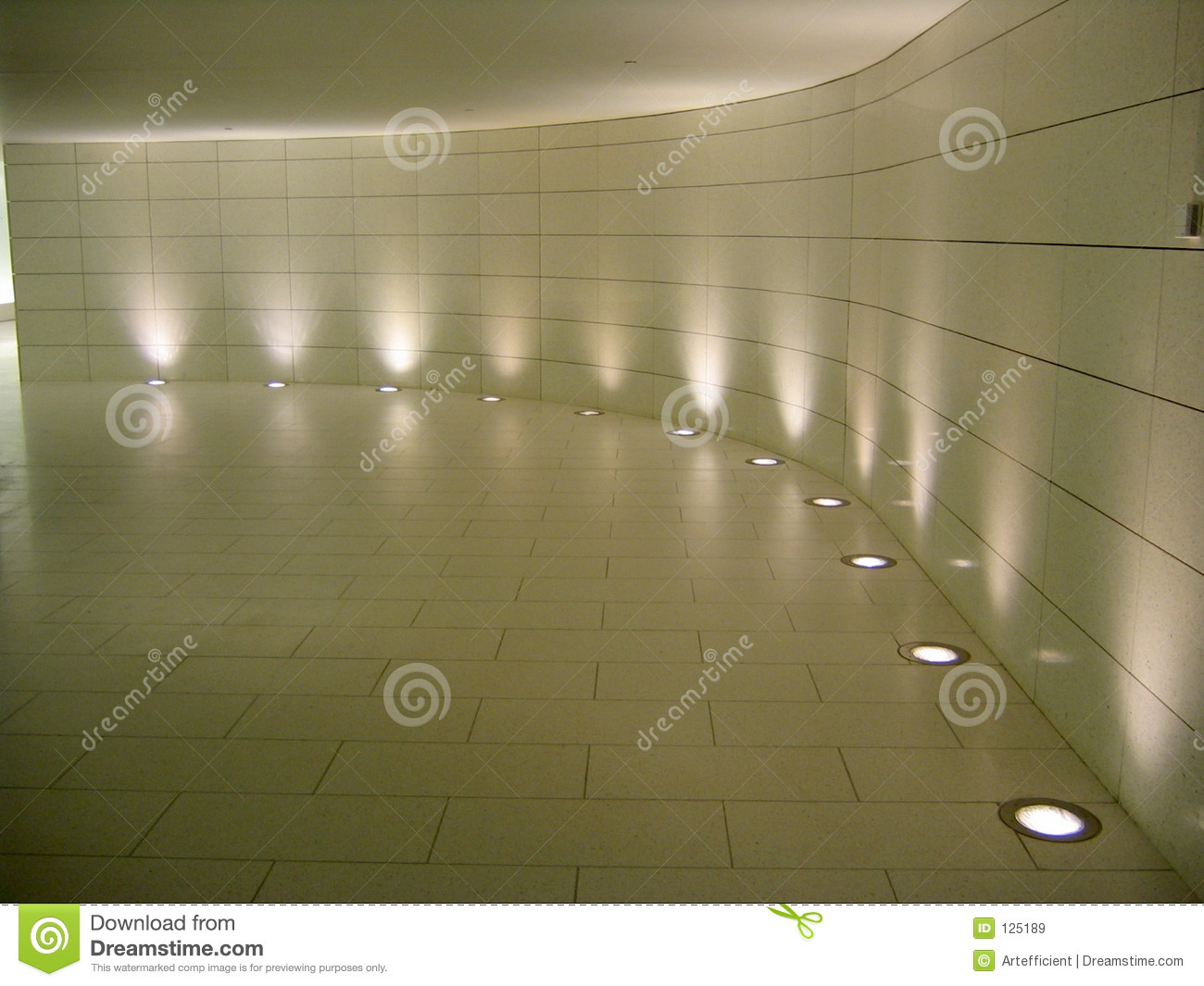 Floor lights in the underground corridor stock image for On the floor on the floor