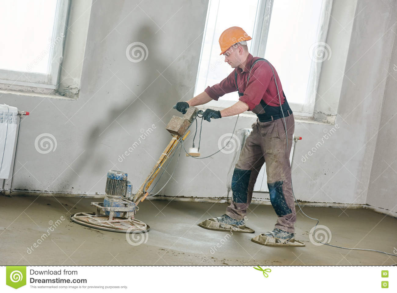 Buildings In A Cement Grinding Mill : Floor machine grinding by power trowel royalty free stock
