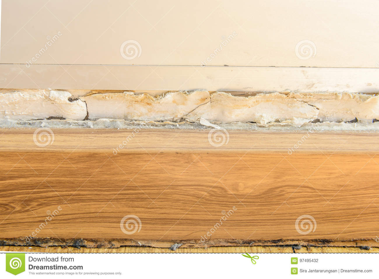 Floor Moldings And Paint Color Swelling On Old White Wall Stock ...