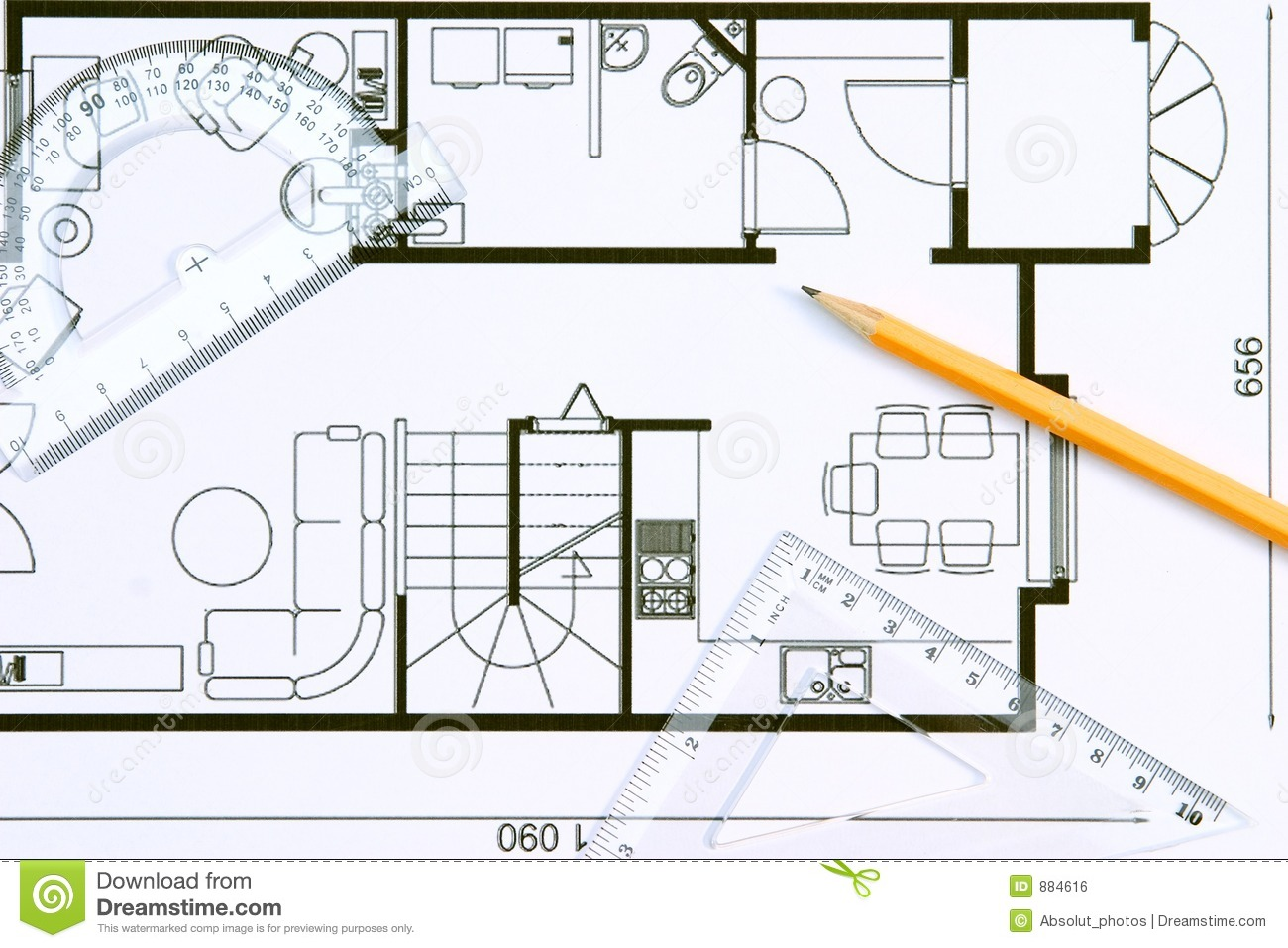 Floor plan stock photo image of drafting improvement for Blueprint home plans