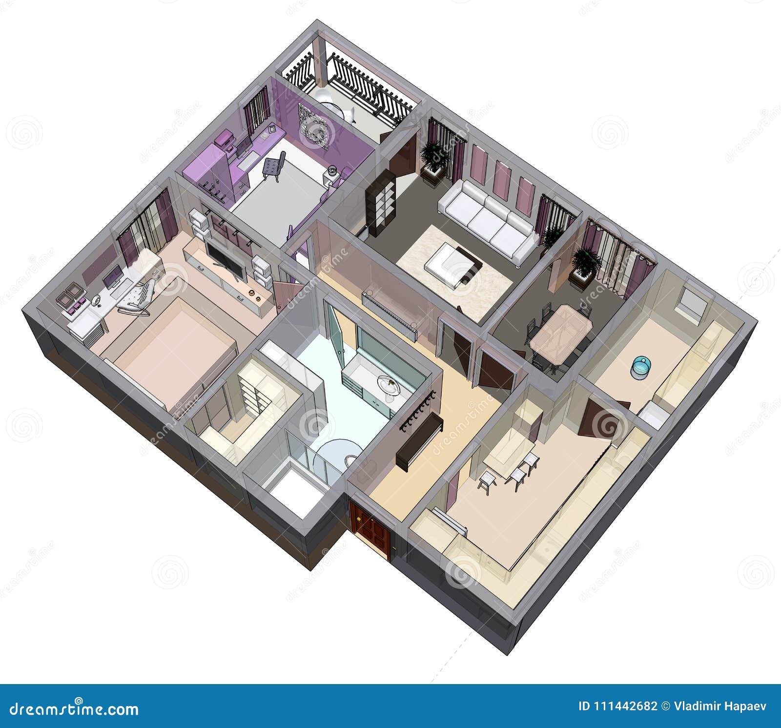 Floor Plan Of The Apartment Or House 3d Renderig Stock Illustration Illustration Of Bathroom Furniture 111442682