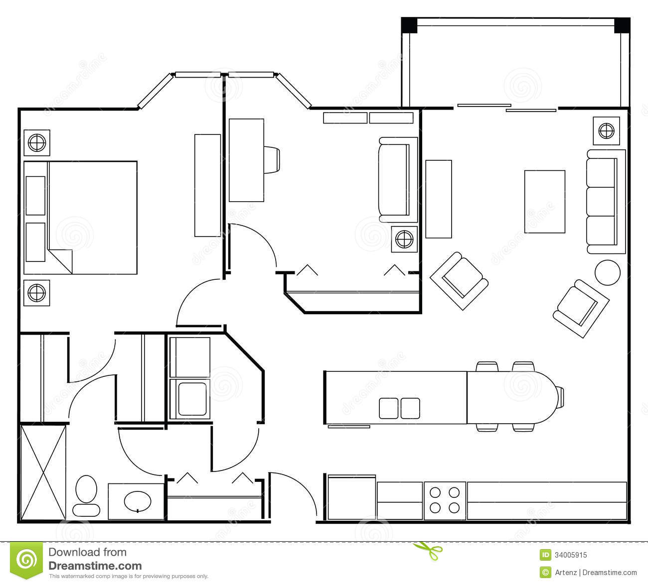 Floor plan apartment stock image image of nrenovation for Apartment stock plans