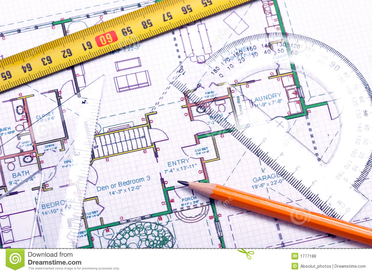 Floor plan and architect 39 s tools royalty free stock photos for Plan architect
