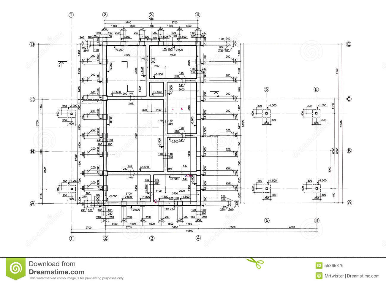 Floor plan blueprint stock illustration image 55365376 for Architecture design blueprint