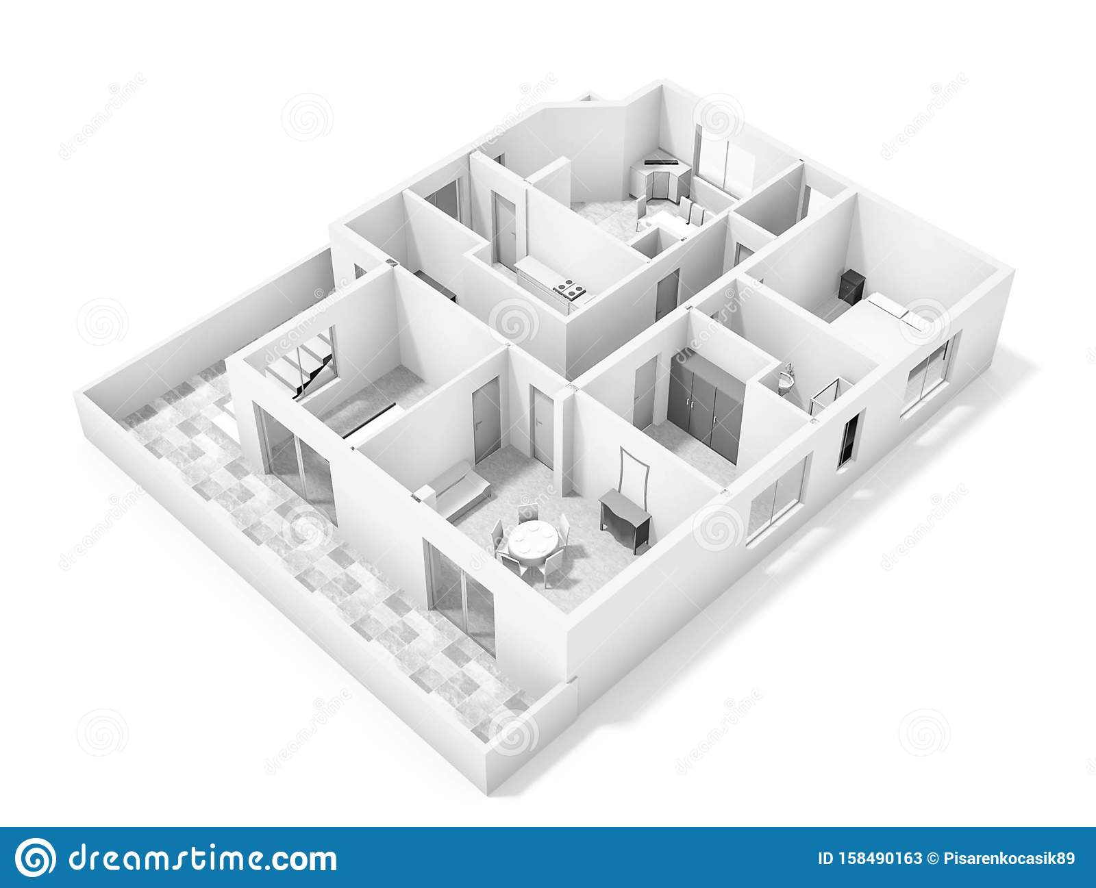 Floor Plan 3d With The Furniture Modern Plan Of The House Stock Illustration Illustration Of Abstract Furniture 158490163