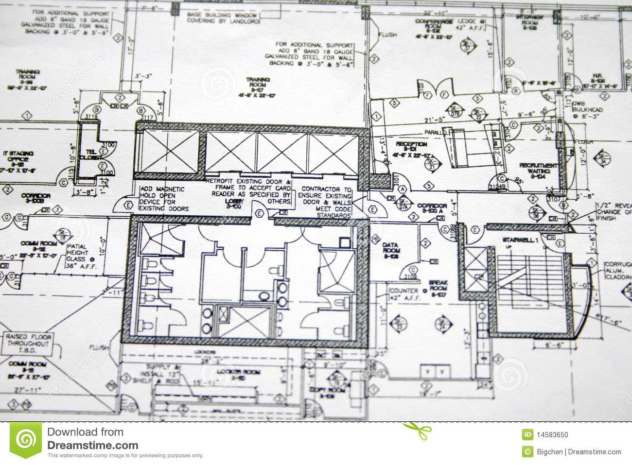 Floor plan drawing stock photo image of design office for Construction plan drawing