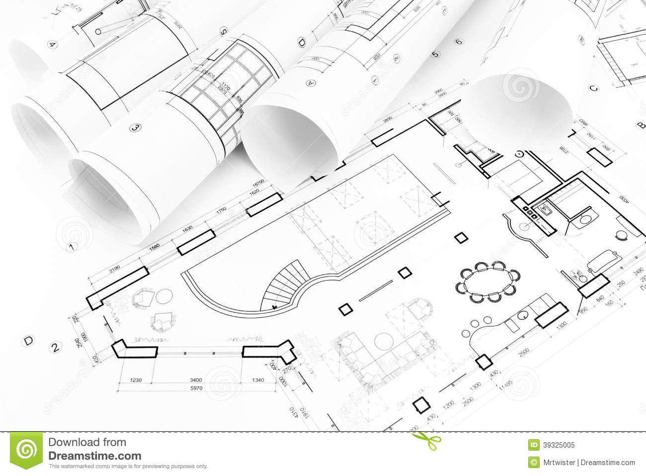 Floor plan drawings stock photo image 39325005 for Architecture blueprint