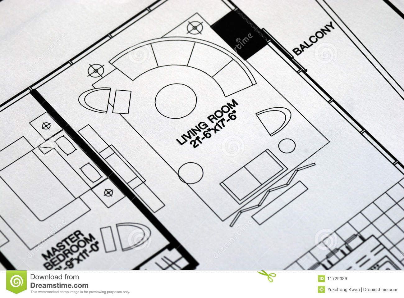 Living Room Floor Plans: A Floor Plan Focused On The Living Room Stock Image