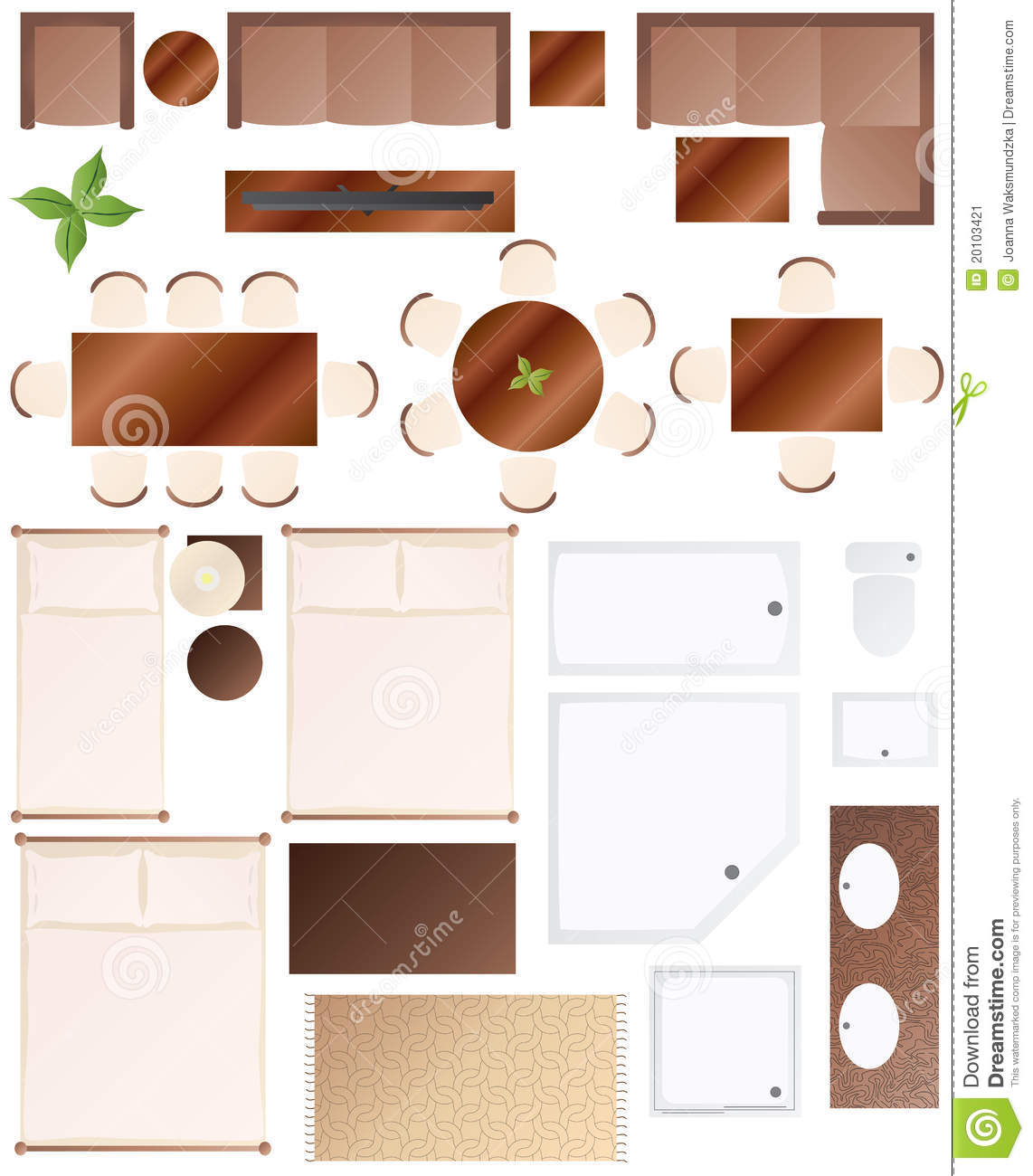 Bathroom House Plans Floor Plan Furniture Collection Stock Vector Image 20103421