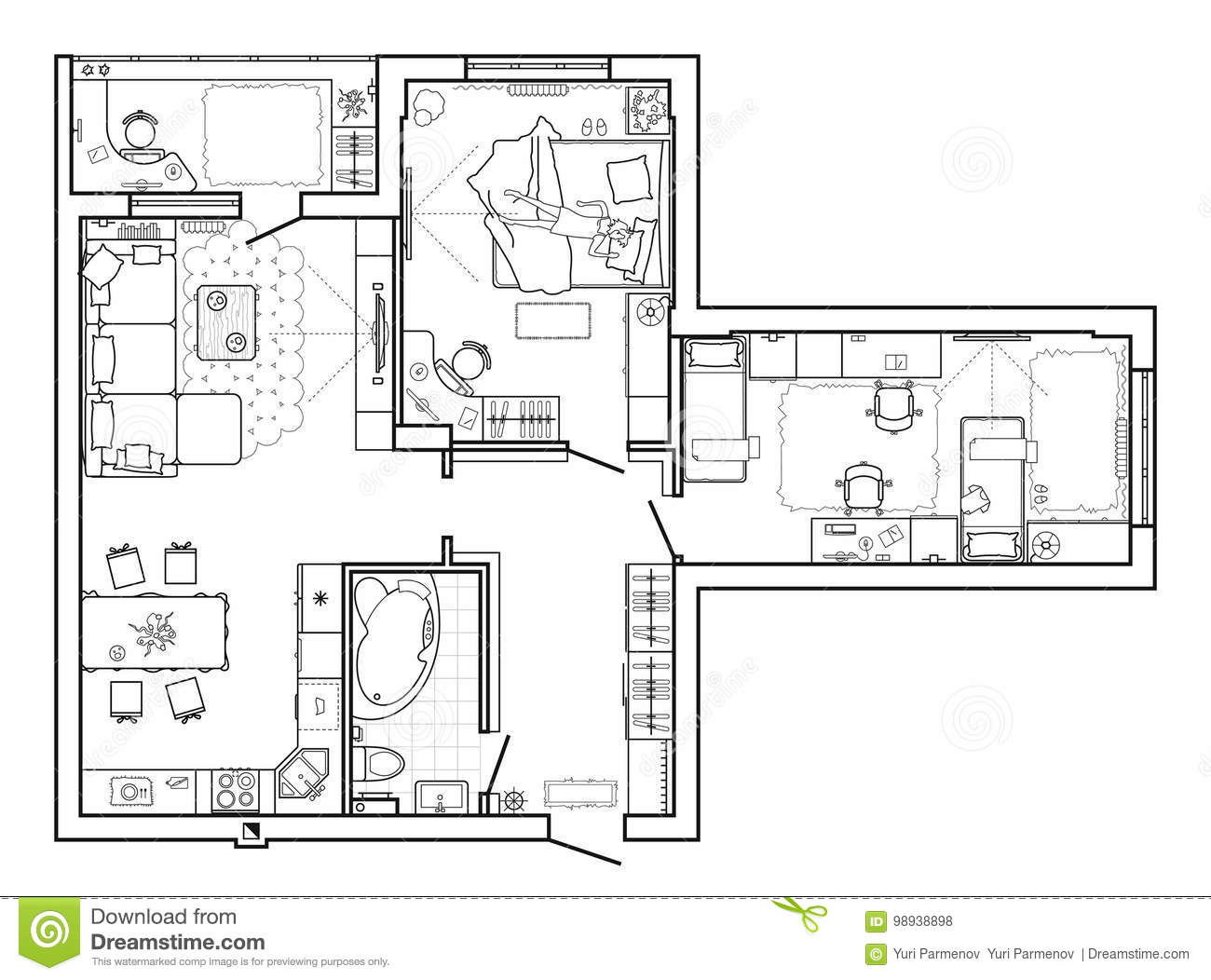 Floor plan with furniture in top view architectural set of furniture thin line icons detailed layout of the modern apartment