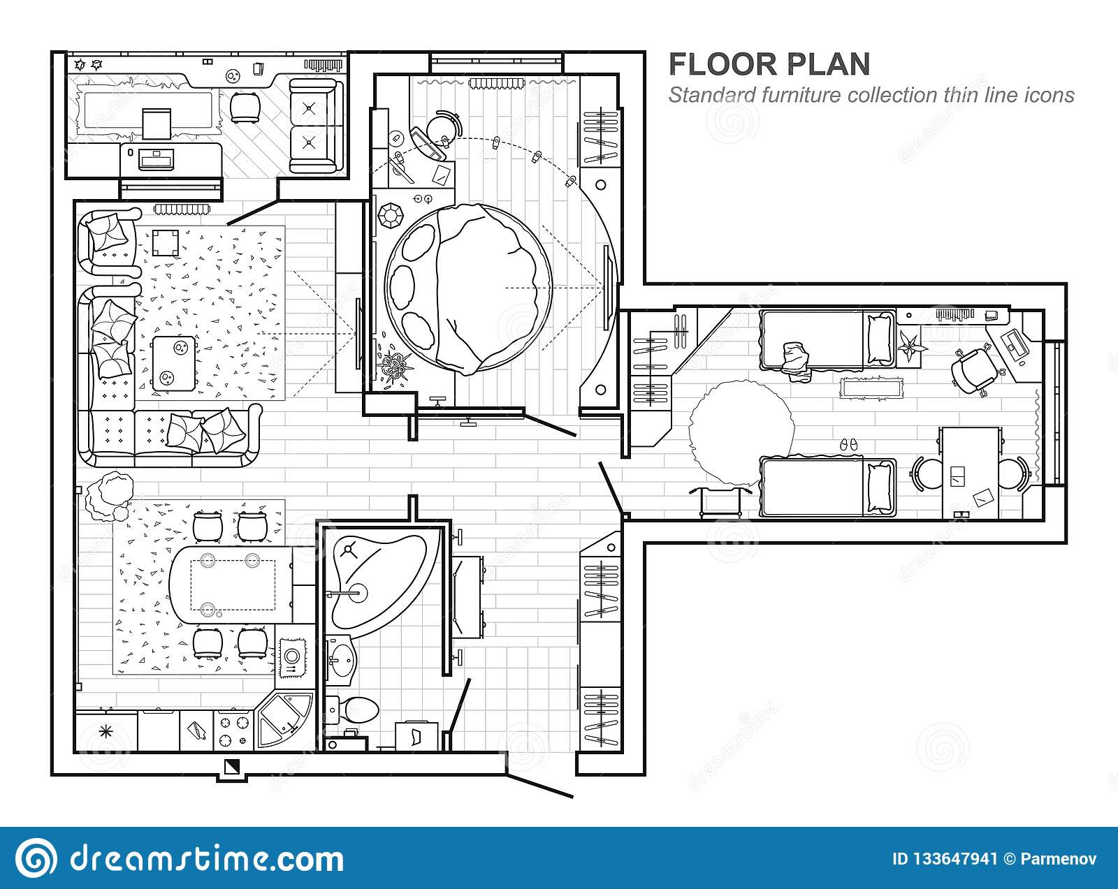 Floor Plan With Furniture In Top View Architectural Set Of Furniture Thin Line Icons Detailed Project Of The Modern Apartment Stock Vector Illustration Of Detailed Architect 133647941