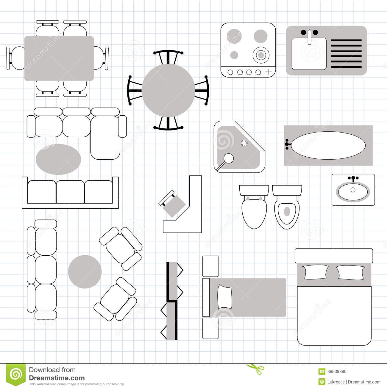 Floor plan with furniture stock vector Illustration of bath