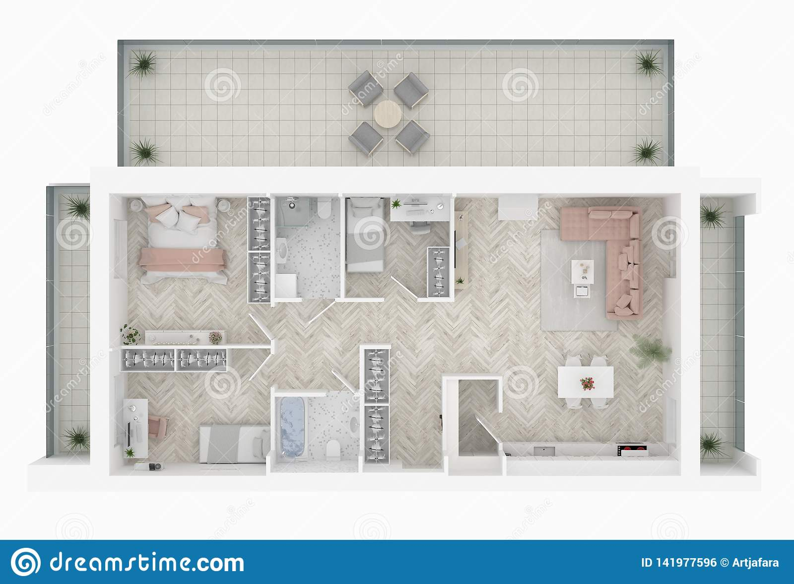 Floor plan of a home top view. Open concept living apartment layout