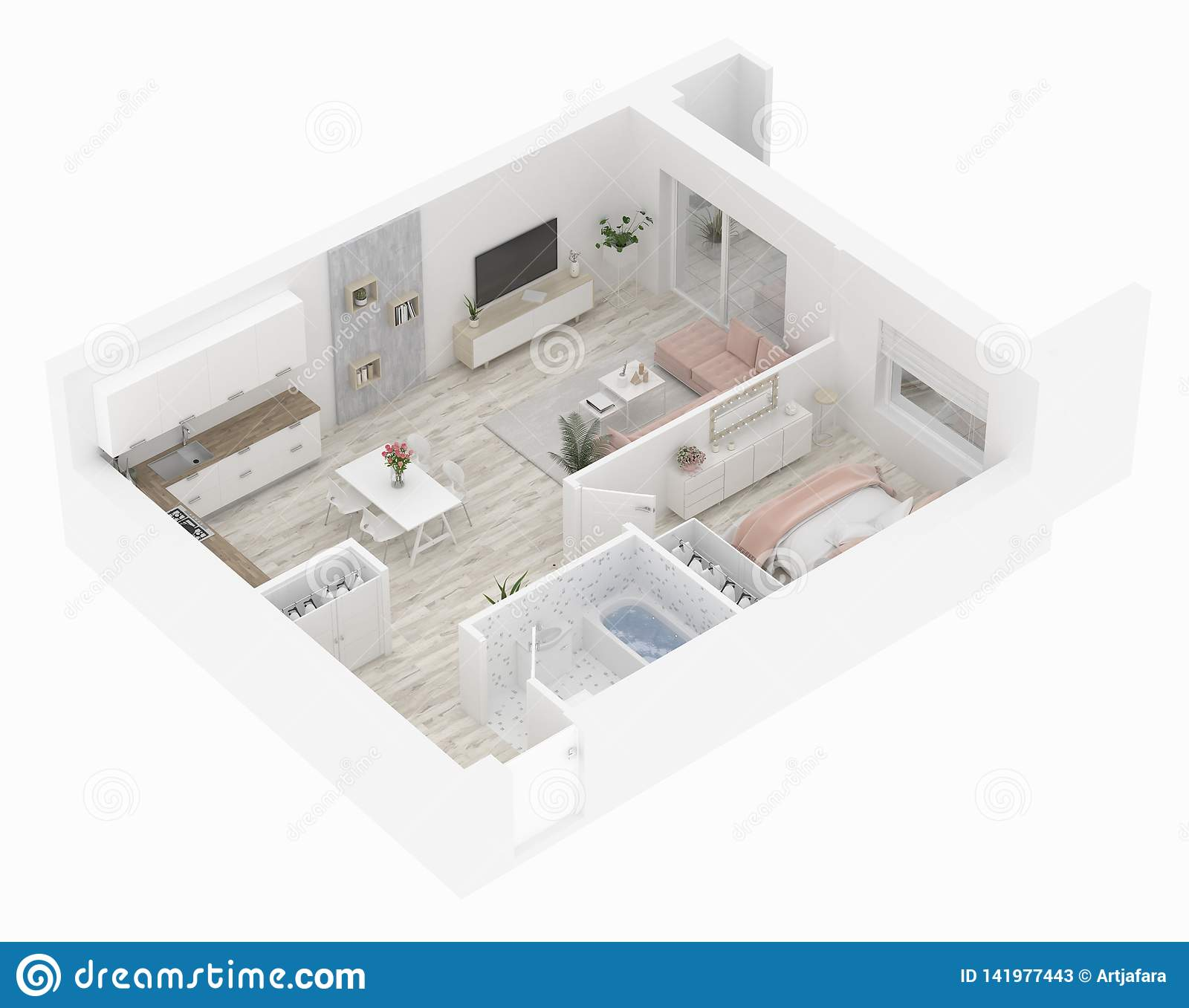 Floor Plan Of A Home Top View Open Concept Living Apartment Layout Stock Illustration Illustration Of Home Hotel 141977443