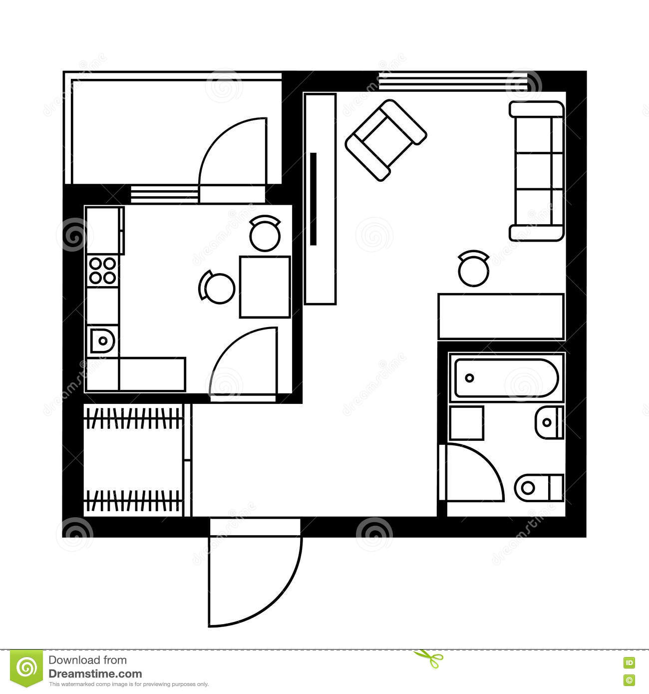 Black White Interior Design Furniture For Floor Plan ~ Floor plan of a house with furniture vector stock