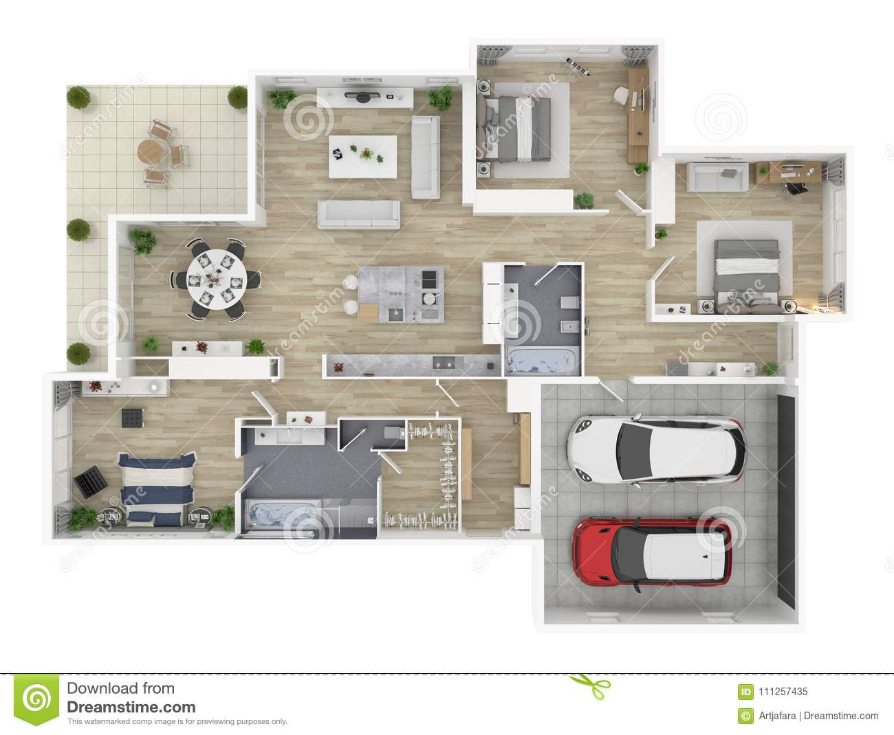 Floor Plan Of A House Top View 3D Illustration. Stock ...