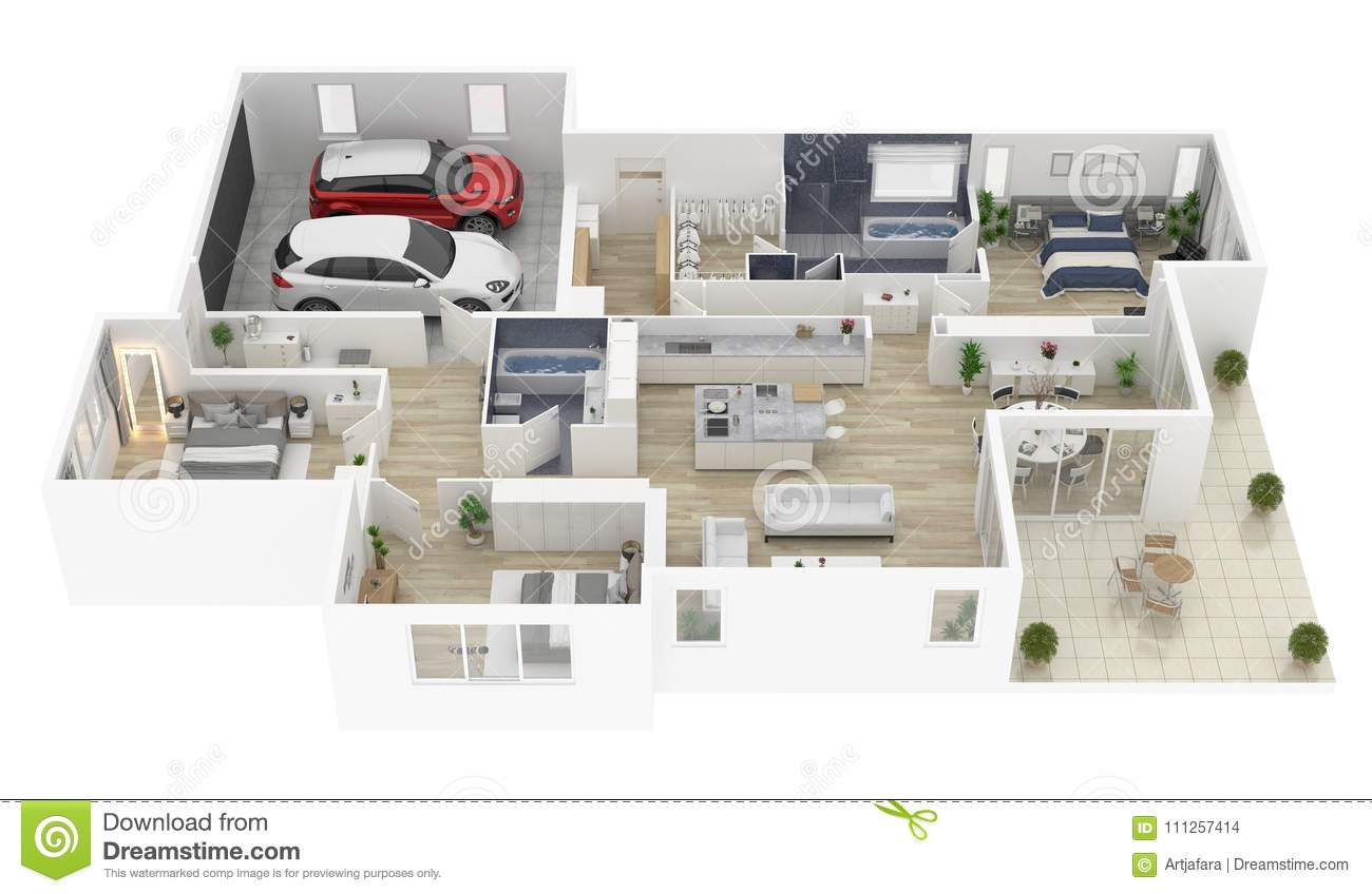 Floor plan of a house top view 3D illustration.