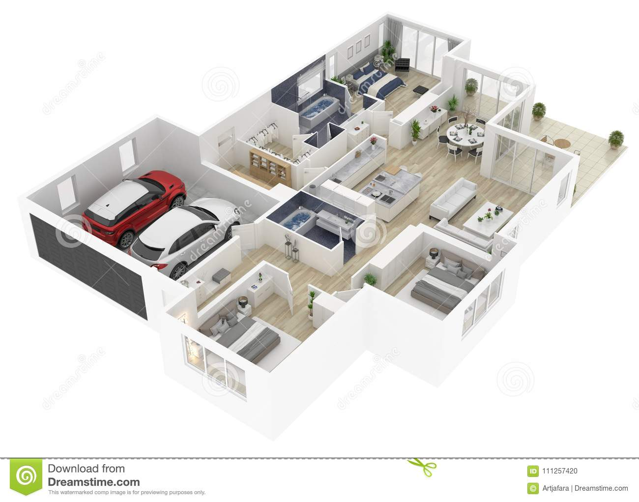 Floor Plan Of A House Top View 3d Illustration Stock Illustration