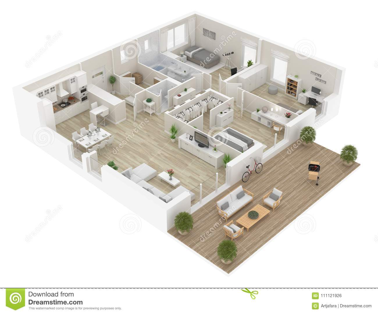 Floor Plan Of A House Top View. Open Concept Living ...
