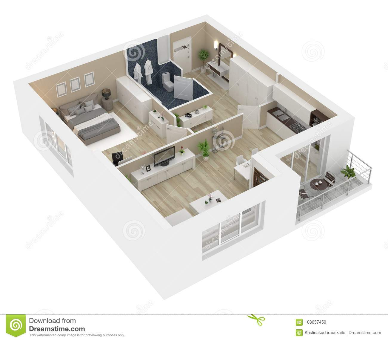 Floor plan of a house view 3d illustration stock for Planner casa 3d