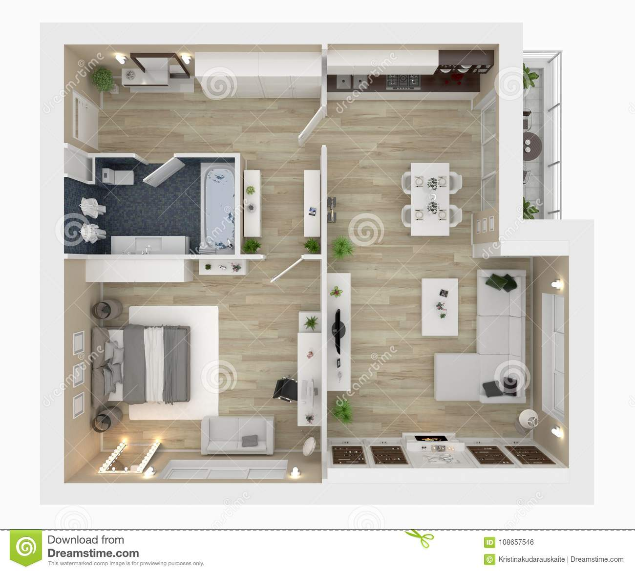 Floor Plan Of A House View 3d Illustration Stock Illustration Illustration Of Isolated Hall 108657546