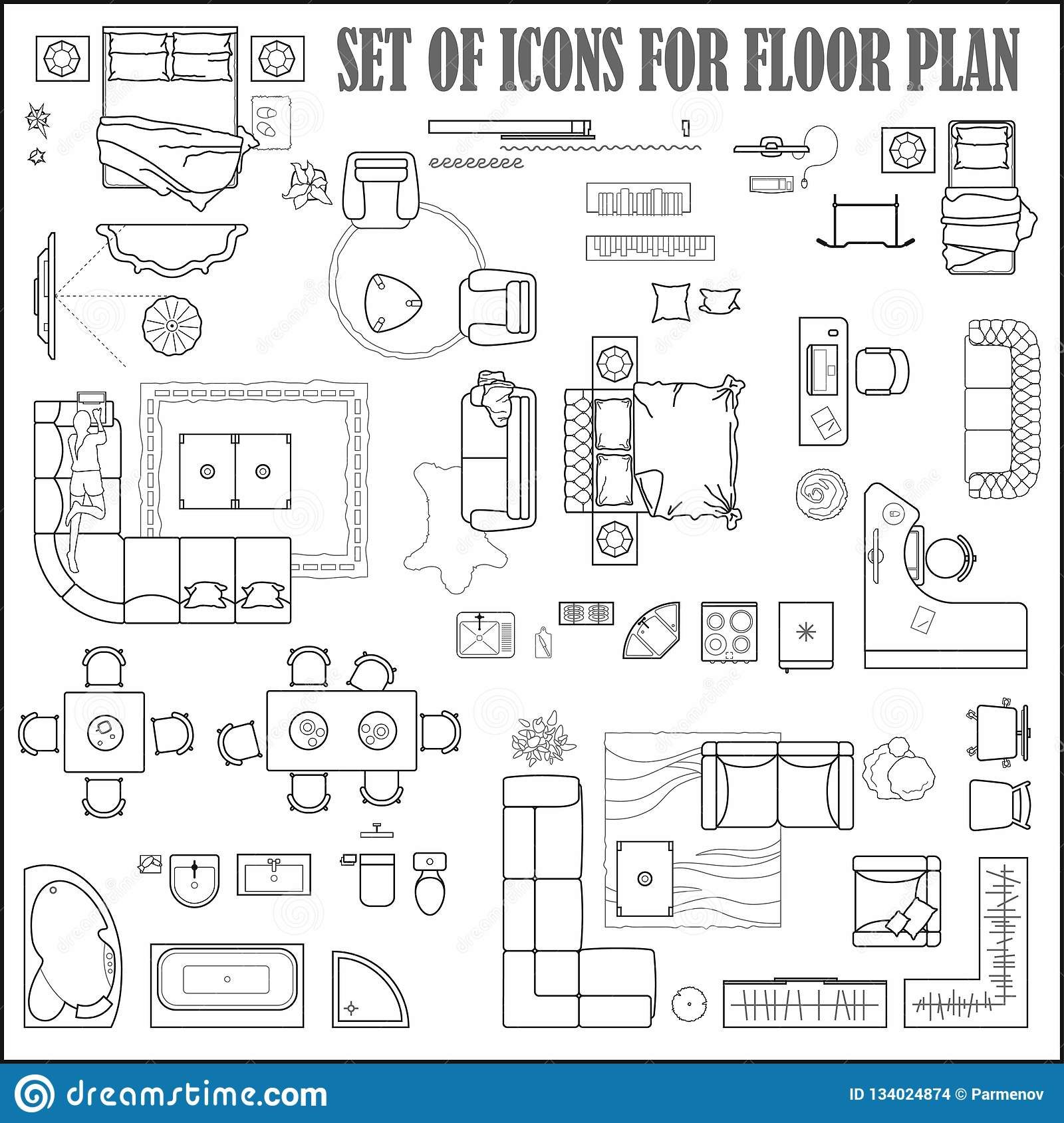 Floor Plan Icons Set For Design Interior And Architectural Project View From Above Furniture Thin Line Icon In Top View For Lay Stock Vector Illustration Of Icons Plan 134024874