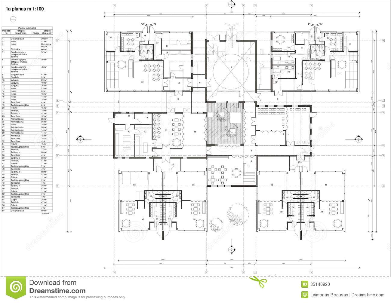 1st Floor Plan House Floor Plan Of The Kindergarten Stock Illustration