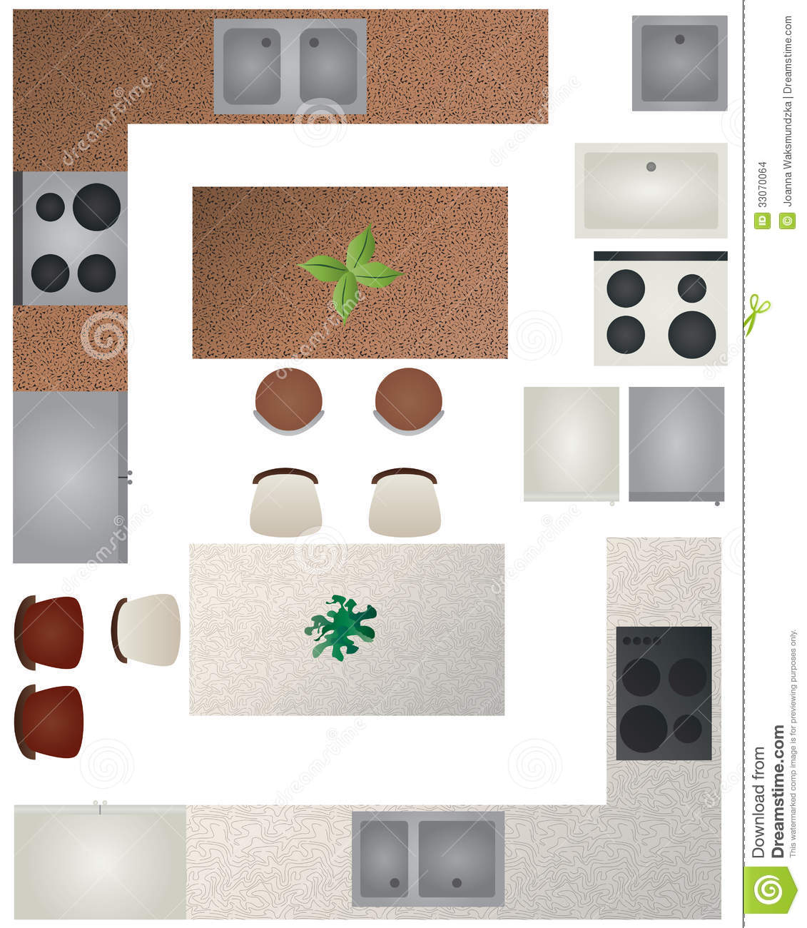 Floor plan kitchen collection stock vector image 33070064 for Home plan collection