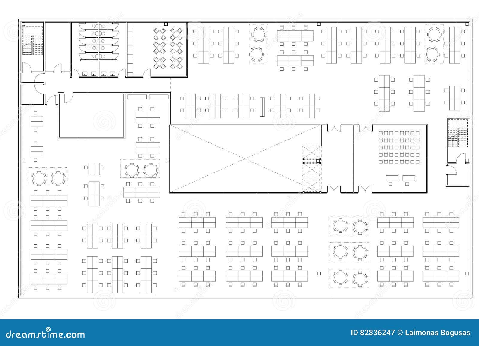 Floor Plan Of The Office Building Stock Illustration