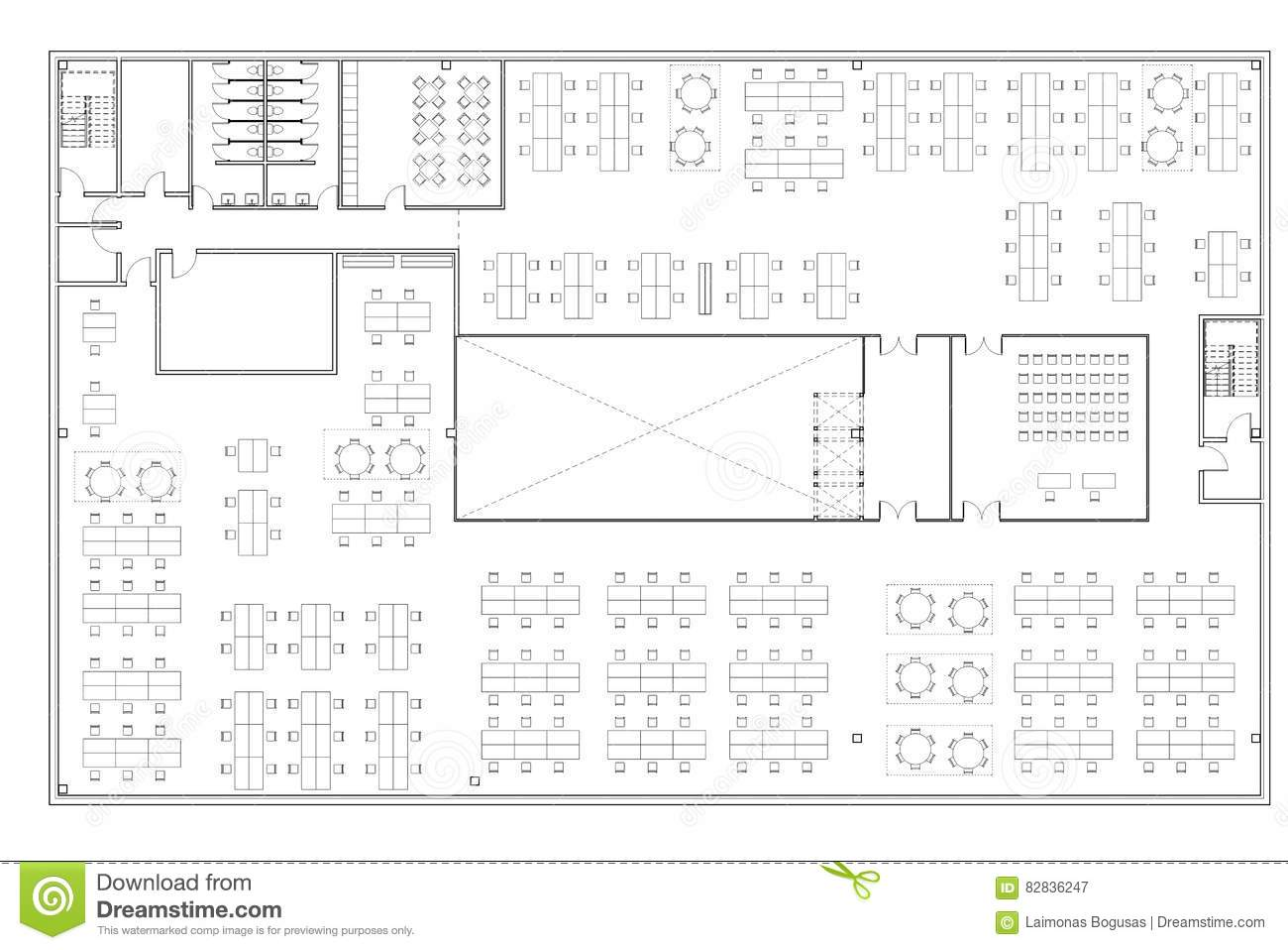 Floor Plan Of The Office Building Stock Illustration Illustration Of Typical Open 82836247